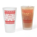 chritmas deer gifts red white Drinking Glass