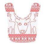 chritmas deer gifts red white Polyester Baby Bib