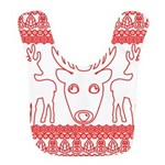 chritmas deer gifts red white Polyester Baby Bib
