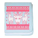 chritmas deer gifts red white baby blanket
