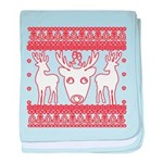 chritmas deer gifts red white baby blanket