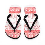 chritmas deer gifts red white Flip Flops