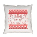 chritmas deer gifts red white Everyday Pillow