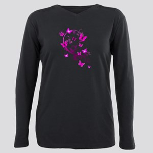 Bright Pink Butterflies Women's Dark T-Shirt