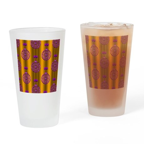 Purple Baubles Gold Christmas Drinking Glass