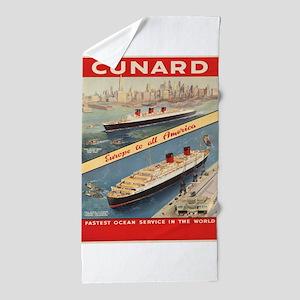 Vintage poster - Cunard Beach Towel