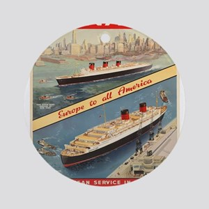Vintage poster - Cunard Round Ornament
