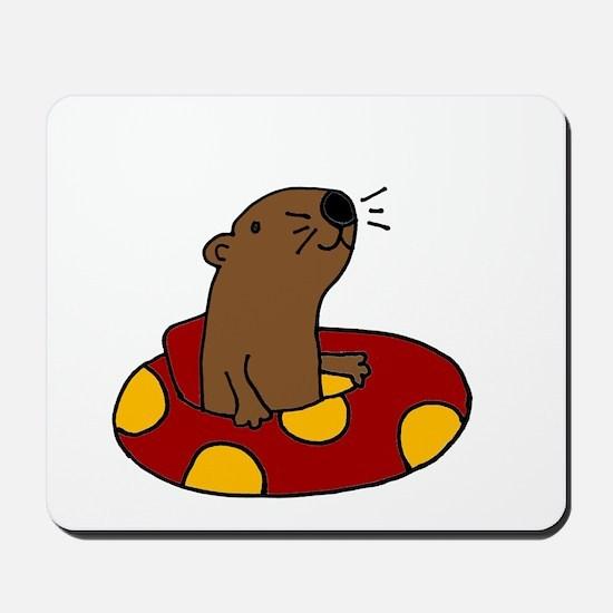 Cute Funny Tubing Otter Mousepad