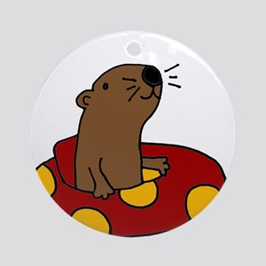 Cute Funny Tubing Otter Round Ornament
