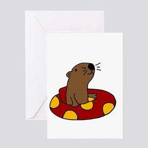 Cute Funny Tubing Otter Greeting Cards