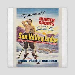 Vintage poster - Sun Valley, Idaho Queen Duvet