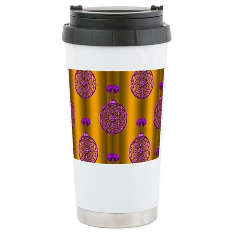 Purple Baubles Gold Christmas Mugs