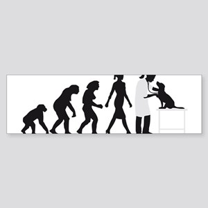 evolution of man female veterinarian Bumper Sticke