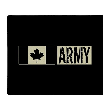 Canadian Military Army Black Flag Throw Blanket By