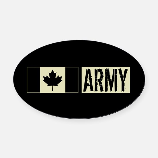Canadian Military: Army (Black Fla Oval Car Magnet