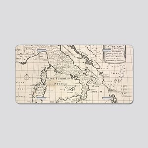 Vintage Map of Italy (1700) Aluminum License Plate
