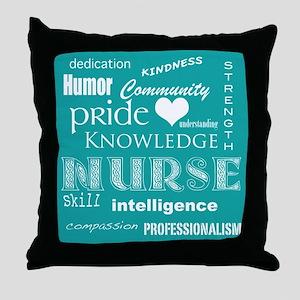 Nurse Pride Attributes-White Heart Throw Pillow