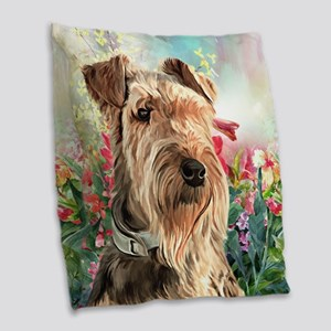 Airedale Painting Burlap Throw Pillow