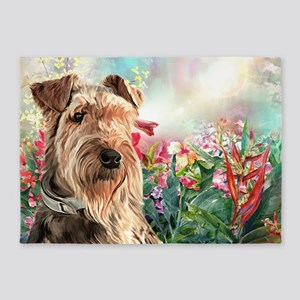 Airedale Painting 5'x7'Area Rug