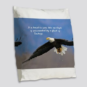 Soar Like an Eagle… if you Can Burlap Throw Pillow