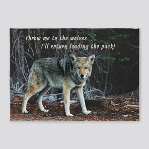 Menacing Wolf in the Woods Lead the Pack 5'x7'Area