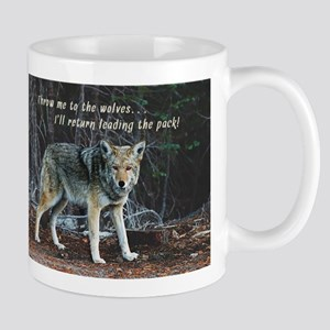 Menacing Wolf in the Woods Lead the Pack Mugs