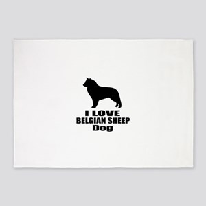 I Love Belgian Sheep Dog 5'x7'Area Rug