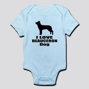 I Love Beauceron Dog Baby Light Bodysuit