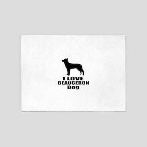 I Love Beauceron Dog 5'x7'Area Rug
