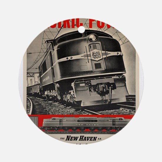 Vintage poster - New Haven Railroad Round Ornament