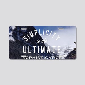 hipster mountain simplicity Aluminum License Plate