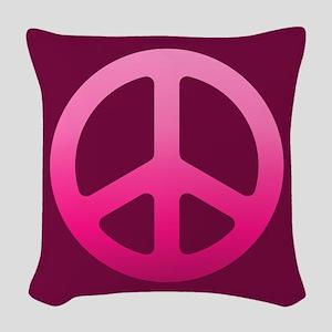 Pink Fade Peace Sign Woven Throw Pillow