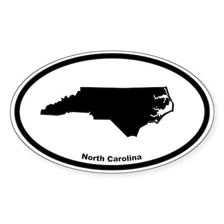 North Carolina State Outline Oval Sticker