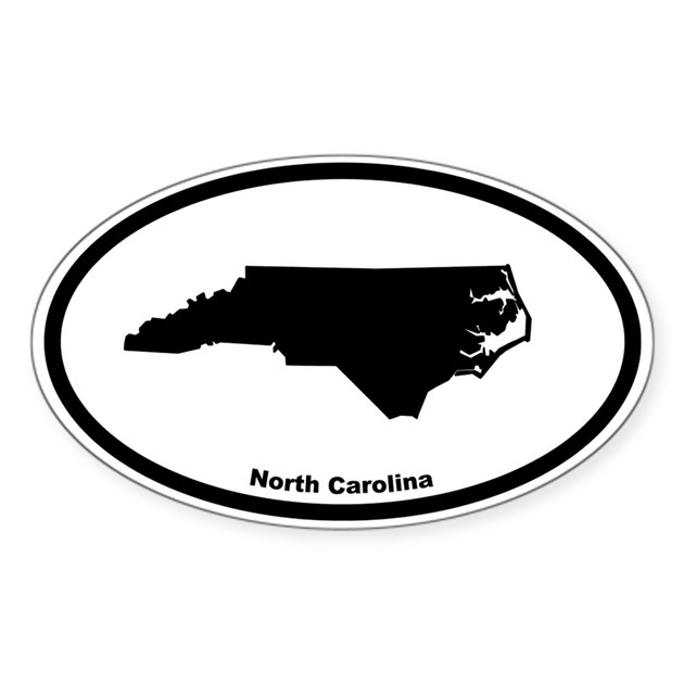 North Carolina State Outline Oval Decal By Cowboy2023