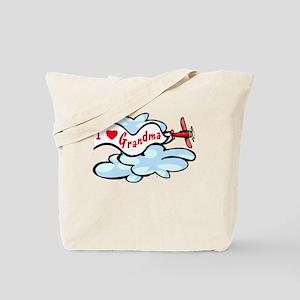 I Love Grandma Airplane Tote Bag