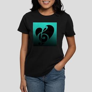 Teal Music Heart T-Shirt