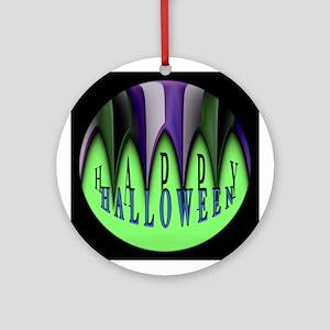Striped Green Halloween Teeth Ornament (Round)
