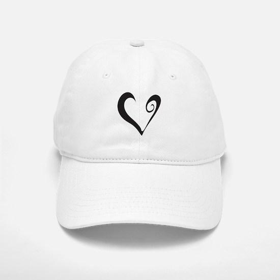 Open Black Heart Baseball Baseball Cap