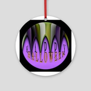 Purple Halloween Teeth Ornament (Round)