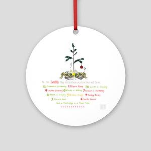 12 Days Of Christmas (whitebg) Round Ornament