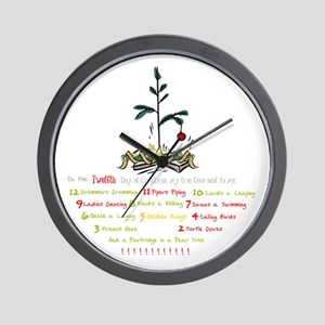 12 Days Of Christmas (whitebg) Wall Clock
