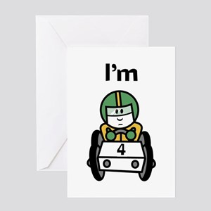 I'm 4 Racing Car Greeting Card
