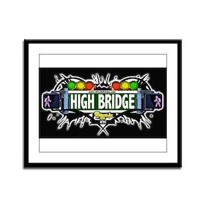 high bridge (Black) Framed Panel Print