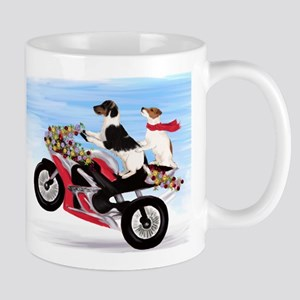 Jack Russells on a motorcycle Large Mugs
