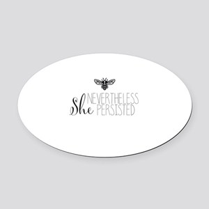 Nevertheless She Persisted Bee Oval Car Magnet