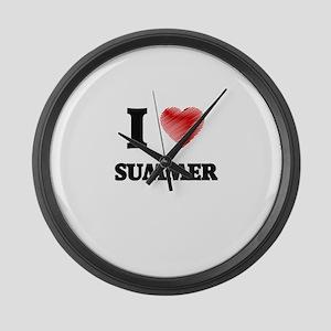 I love Summer Large Wall Clock