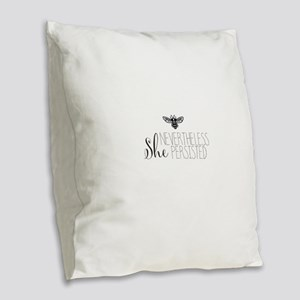 Nevertheless She Persisted Bee Burlap Throw Pillow
