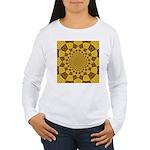 Red & Gold Dance Fract Women's Long Sleeve T-Shirt