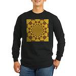 Red & Gold Dance Fractal Long Sleeve Dark T-Shirt