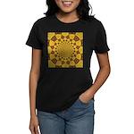 Red & Gold Dance Fractal Women's Dark T-Shirt